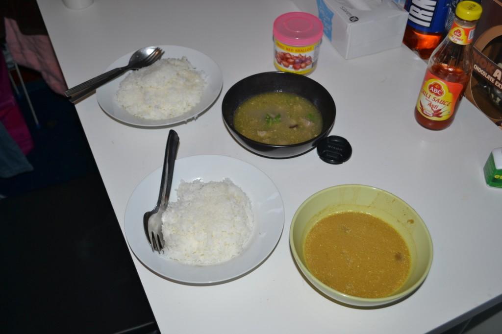 Sopa de cordero y Tong Seng