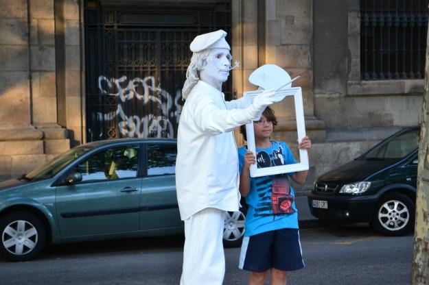 Artistas callejeros en la Rambla