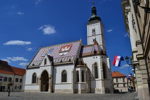 La pintoresca iglesia Saint Mark, Zagreb