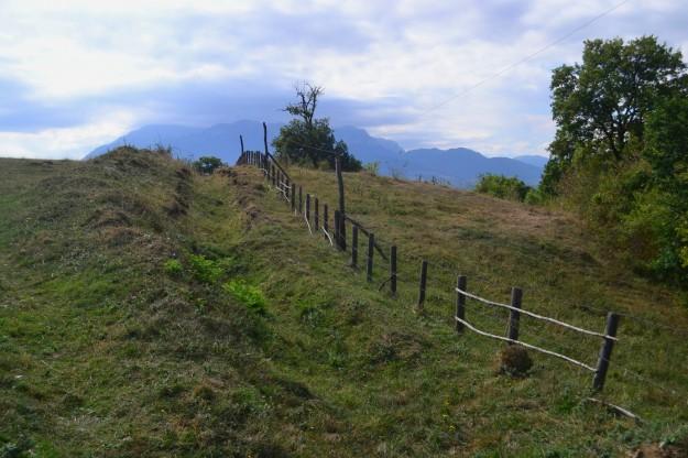 Panorama campestre rumano, con los Montes Cárpatos de fondo