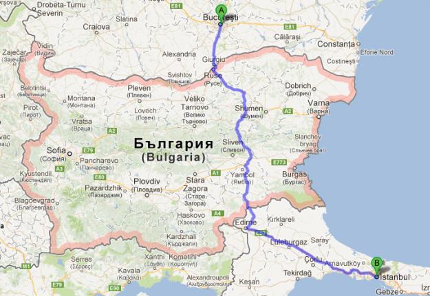 El camino directo de Bucarest a Estambul no pasa por ninguna gran ciudad búlgara. Un problema para el autostop.
