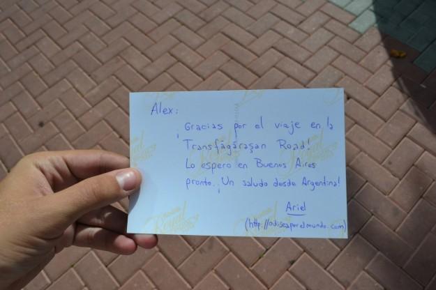 Postal de agradecimiento a Alex, quién me llevó por la Transfagarasan