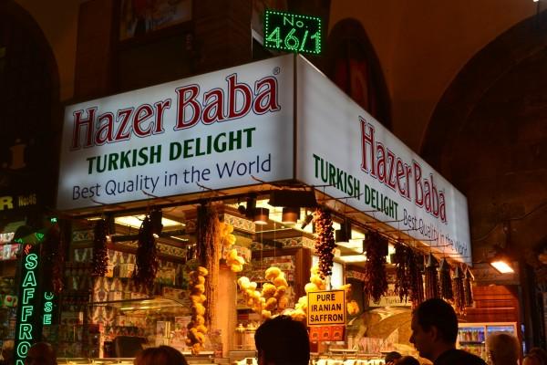 Puesto de venta de Delicias Turcas en el Spice Bazaar