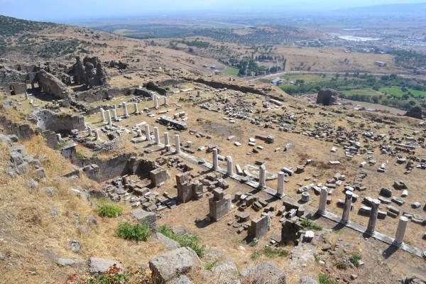 Vista del gimnasio de Pergamon desde arriba. Es fácil imaginarse las dimensiones del edificio