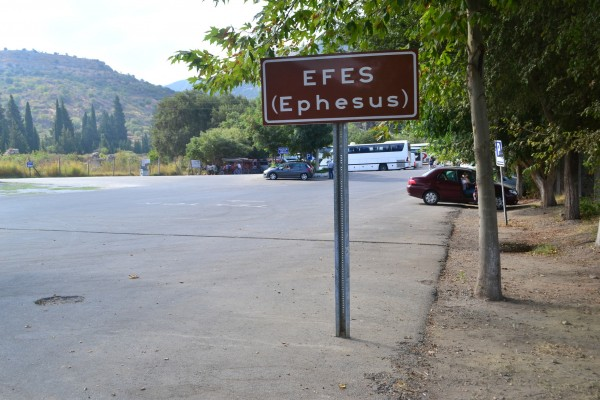 Cartel de ingreso a las ruinas de Efeso