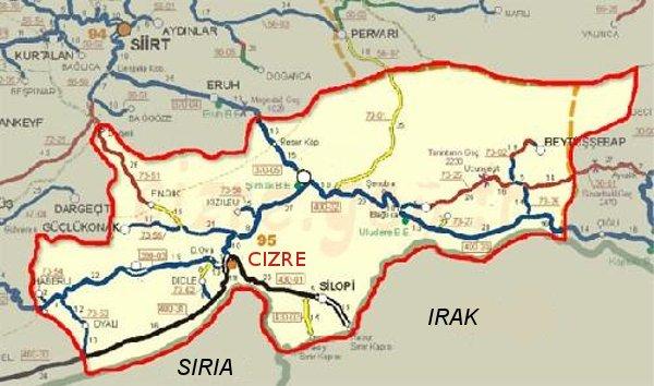 Ubicación de Cizre, en la triple frontera entre Siria, Irak y Turquía