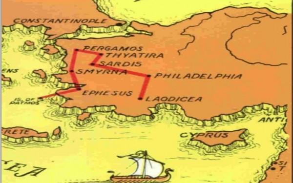 Las Siete Iglesias del Libro del Apocalipsis, a las que les fueron enviadas cartas por San Juan