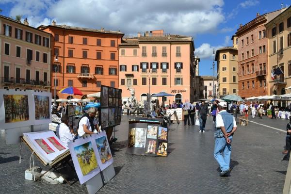Los geniales artistas de Piazza Navona