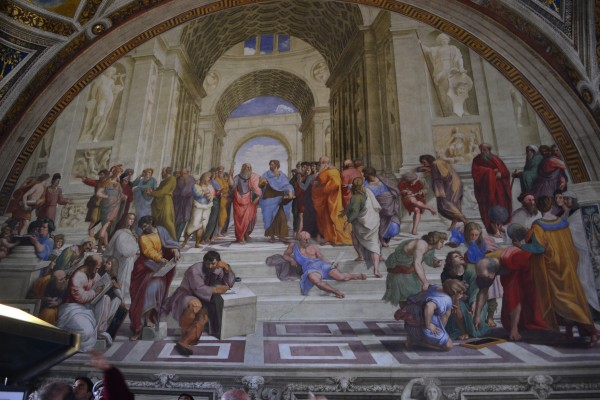 Escuela de Atenas, en las Estancias de Rafael, Museos Vaticanos