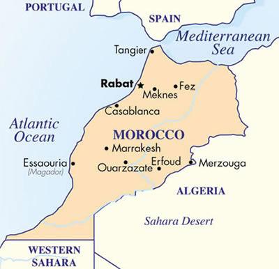 Mapa de Marruecos, destino de nuestras próximas aventuras viajeras juntos