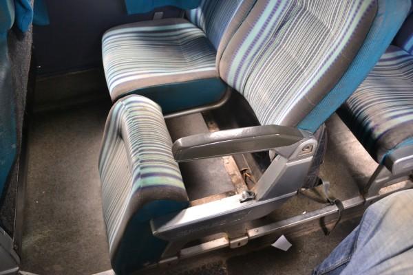 El estado deplorable del transporte interurbano marroquí. Aquí nuestro asiento en el viaje entre Tánger y Al-Fnideq