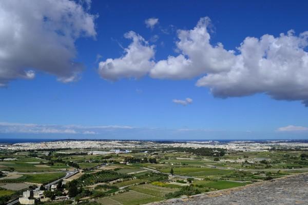 Paisaje de la Isla de Malta desde lo alto de Mdina
