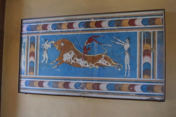 El famoso mural del salto de toros, Knossos