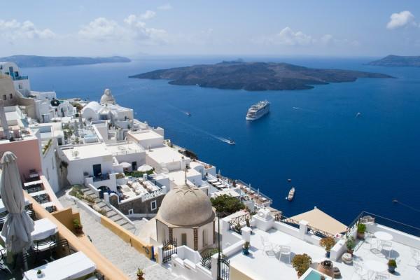 El pueblo de Fira y la caldera de Santorini