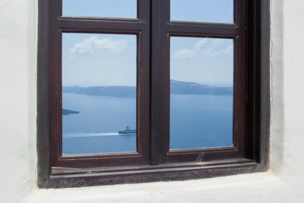 Visión artística de la caldera de Santorini