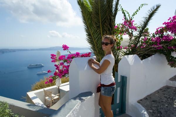 En el pueblo de Imerovigli, sobre la caldera de Santorini
