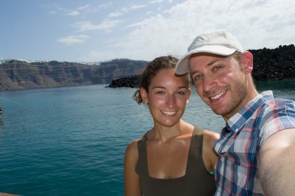 Paseo por la laguna de Santorini
