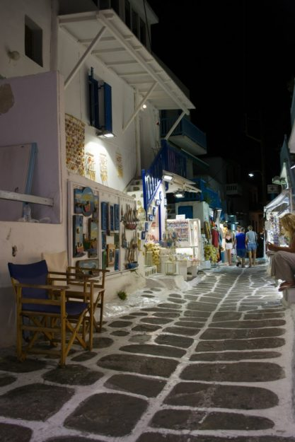 Paseo nocturno por Chora, capital de Mykonos